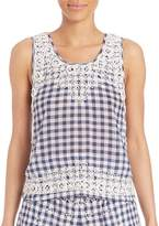 Calypso St. Barth Women's Yunes Embroidered Check Top