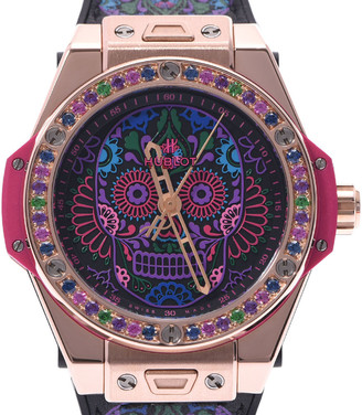 Hublot Multicolor Sapphire 18K Yellow Gold Big Bang One-Click Calavera 465.OX.1190.VR.1299.Mex18 Automatic Men's Wristwatch 42 MM