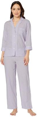 Lauren Ralph Lauren Petite Classic Wovens 3/4 Sleeve Pointed Notch Collar Long Pants Pajama Set (Lilac Stripe) Women's Pajama Sets