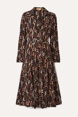 Michael Kors Pleated Printed Silk Crepe De Chine Midi Dress - Brown
