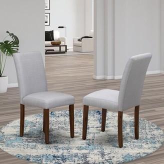 Winston Porter Carbonville Linen Upholstered Parsons Chair Upholstery Color: Doeskin, Leg Color: Antique Walnut