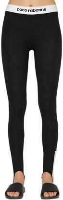 Paco Rabanne Logo Band Jersey Stirrup Leggings