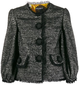Dolce & Gabbana Tweed Decorative Button Blazer