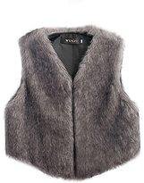 Awtang Womens Luxury Faux Fur Vest Coat Sleeveless Short Waistcoat Jacket Outwear