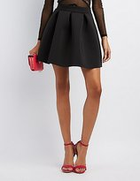 Charlotte Russe Pleated Scuba Skater Skirt