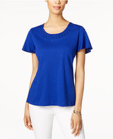 Karen Scott Braided-Neck Flutter-Sleeve Top, Only at Macy's