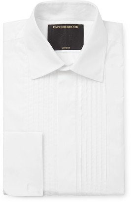 Favourbrook Cream Eton Slim-Fit Bib-Front Double-Cuff Cotton-Poplin Tuxedo Shirt