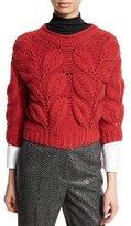 Brunello Cucinelli Piuma-Leaf 3/4-Sleeve Sweater, Poppy