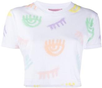 Chiara Ferragni eye print cropped T-shirt