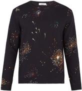 Valentino Firework-print crew-neck cotton-blend sweatshirt