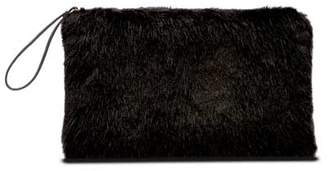 Mint Velvet Black Faux Fur Clutch Bag