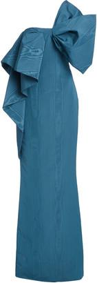 Oscar de la Renta Bow-Accented Moire Gown