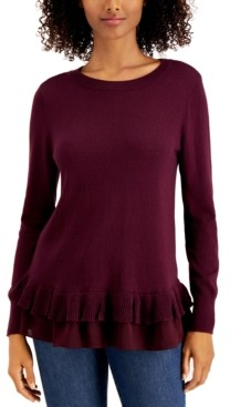 Style&Co. Style & Co Ruffle-Hem Sweater, Created for Macy's