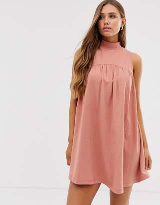 Asos Design DESIGN high neck mini sleeveless smock dress-Pink