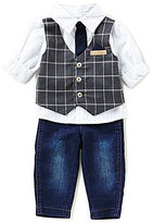 Starting Out Baby Boys 3-24 Months Button-Down Shirt, Plaid Vest, & Jeans 3-Piece Set