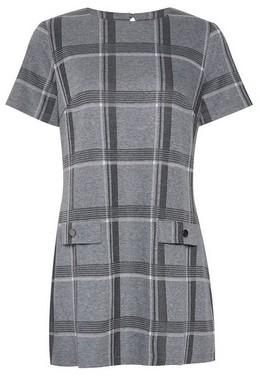 Dorothy Perkins Womens Grey And White Check Print Tunic Top, Grey