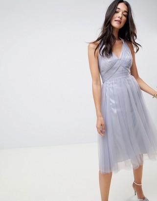 Asos Design DESIGN soft tulle midi dress-Blue