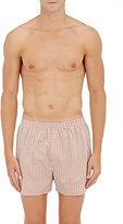 Sunspel Men's Plaid Cotton Boxers-RED