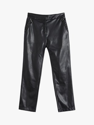 Oasis Faux Leather Zip Trousers, Black