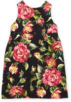 Dolce & Gabbana Floral Rose Brocade Dress, Black Pattern, Size 8-12
