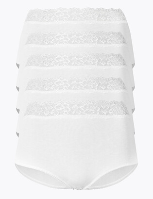 Marks and Spencer 5 Pack Lace High Waisted Full Briefs