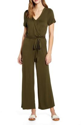 Bobeau Wrap Front Short Sleeve Jumpsuit