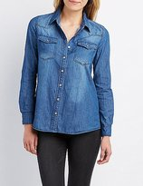 Charlotte Russe Chambray Button-Up Pocket Shirt