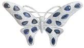 18K Ceylon Sapphire 54.38 ct. Diamond Butterfly White Gold Brooch