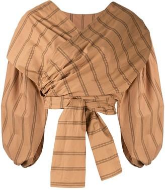 Acler Wyatt stripe print wrap blouse