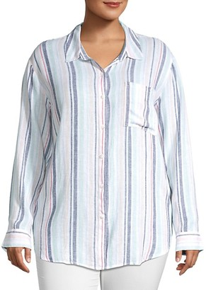 Sanctuary Keepers Striped Linen Boyfriend Shirt