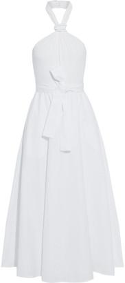 Max Mara Tornado Jersey-paneled Cotton-poplin Halterneck Midi Dress