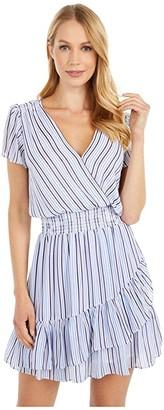 MICHAEL Michael Kors Stripe Short Sleeve Wrap Dress (Crew Blue) Women's Dress