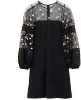 French Connection Paulette Embroidered Balloon Sleeve Dress