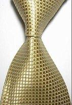 Pisces.goods New Light Golden Checked Jacquard Woven Men's Tie Necktie