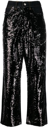 Golden Goose Sequin Panels Wide Jeans