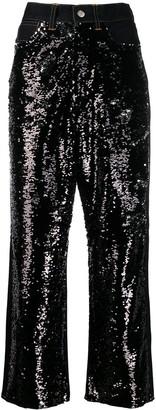 Golden Goose Sequin Panels Wide Jeans