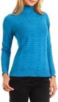 Yuka Paris Turquoise Textured Turtleneck Sweater
