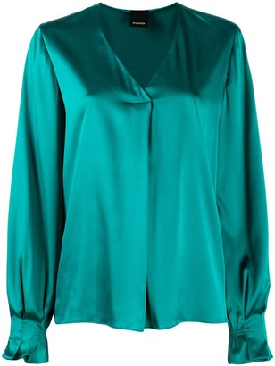 Pinko V-Neck Front Pleat Blouse