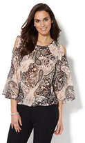 New York & Co. 7th Avenue Design Studio - Cold-Shoulder Blouse - Metallic Paisley Print