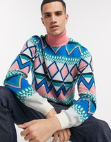 Asos Design DESIGN knitted roll neck sweater with geo mutli color design