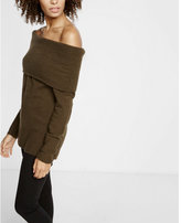 Express plush jersey off the shoulder sweater