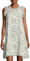 Max Studio Pleated-Trim Floral-Print Georgette Dress, White Pattern