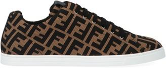 Fendi Brown Tech Fabric Low-top Sneakers