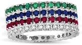 Suzy Levian 2 CT TW Multi-Gem and Diamond 14K White Gold 4-Piece Eternity Ring Set
