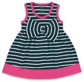 Baby Vision BabyVision® Hudson Baby® Sleeveless Big Bow Striped Dress in Navy/Pink