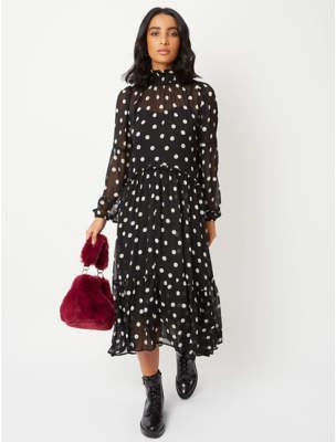 George Black Spot Print Tiered Dress