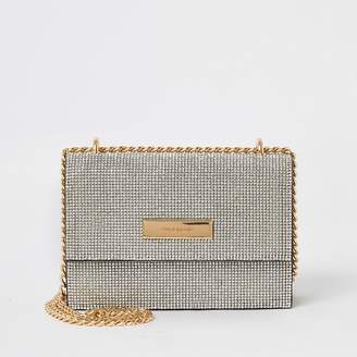 River Island Silver diamante mini cross body bag