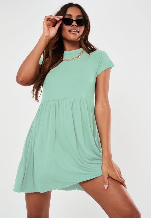 Missguided Petite Mint Short Sleeve Smock Dress
