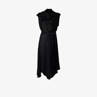 Sacai Asymmetric draped pleated dress