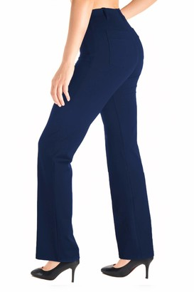 Yogipace Belt Loops Women's Petite/Regular/Tall Dress Pant Bootcut Yoga Work Pants Slacks Trousers Back Pockets Office Commute Travel 35""